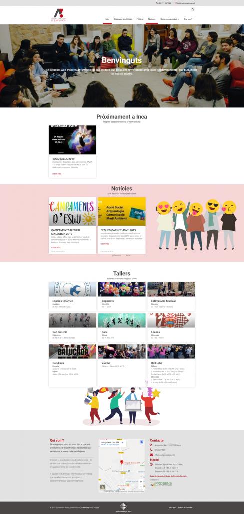 Mostra de la pàgina d'inici de la web Som Joves inca